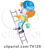 Royalty Free RF Clipart Illustration Of A Party Clown Climbing A Ladder With Water