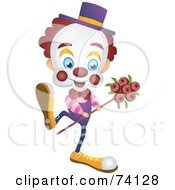 Royalty Free RF Clipart Illustration Of A Friendly Party Clown Dancing With Flowers