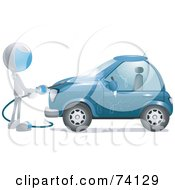 Royalty Free RF Clipart Illustration Of A Future Man Washing A Blue Car