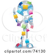 Royalty Free RF Clipart Illustration Of A Future Man Covered In Colorful Sticky Notes