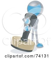 Royalty Free RF Clipart Illustration Of A Future Man Using A Giant Stamp by BNP Design Studio