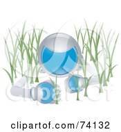 Royalty Free RF Clipart Illustration Of A Future Man Crawling In Grass by BNP Design Studio