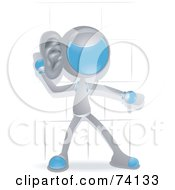 Royalty Free RF Clipart Illustration Of A Future Man Listening