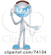 Royalty Free RF Clipart Illustration Of A Future Man Plugging In Headphones