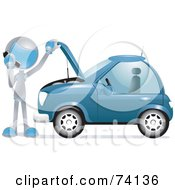 Royalty Free RF Clipart Illustration Of A Future Man Calling A Towing Company By A Broken Down Car by BNP Design Studio