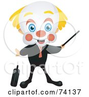 Friendly Party Clown Businessman Pointing