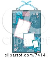Scrap Book Design With Blank Spaces Buttons And Patches