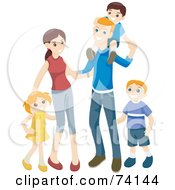 Royalty Free RF Clipart Illustration Of A Happy Family Of Two Young Parents And Three Kids