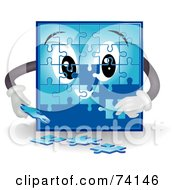 Royalty Free RF Clipart Illustration Of A Blue Puzzle Character Assembling Pieces