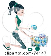Royalty Free RF Clipart Illustration Of A Pretty Home Maker Kneeling And Picking Up Toys