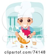 Royalty Free RF Clipart Illustration Of A School Boy Cooking In Home Economics Class