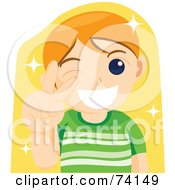 Royalty Free RF Clipart Illustration Of A Friendly Boy Winking And Gesturing The Peace Sign Over Yellow by BNP Design Studio