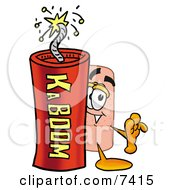 Bandaid Bandage Mascot Cartoon Character Standing With A Lit Stick Of Dynamite by Toons4Biz