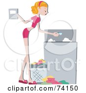 Royalty Free RF Clipart Illustration Of A Pretty Home Maker Pouring Detergent In A Washing Machine