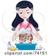 Pretty Woman Bathing Her Puppy In A Small Bin