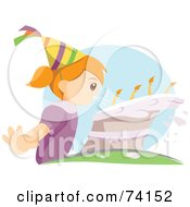 Royalty Free RF Clipart Illustration Of A Little Girl Blowing Strongly On Her Birthday Cake