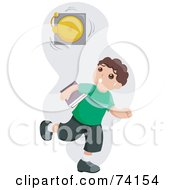 Royalty Free RF Clipart Illustration Of A Little Boy Running Late To Class While A Bell Rings