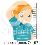 Royalty Free RF Clipart Illustration Of A Proud Little Boy Measuring His Height