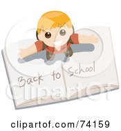 Royalty Free RF Clip Art Illustration Of A Little Boy Standing On Top Of An Open Book With Back To School Writing