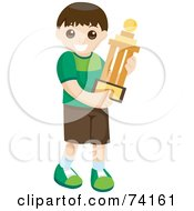 Royalty Free RF Clipart Illustration Of A Little Boy Carrying A Prized Trophy