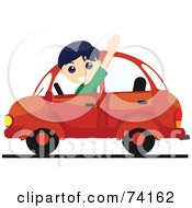 Royalty Free RF Clipart Illustration Of A Friendly Boy Waving And Driving A Red Car