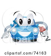 Royalty Free RF Clipart Illustration Of A Blue Car Character Fueling Up