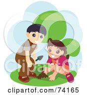 Royalty Free RF Clipart Illustration Of A Little Boy And Girl Planting A Seedling
