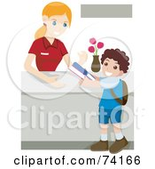 Royalty Free RF Clipart Illustration Of A Little Boy Returning Library Books by BNP Design Studio