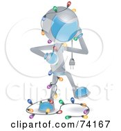 Royalty Free RF Clipart Illustration Of A Future Man Tangled In Christmas Lights by BNP Design Studio