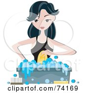 Royalty Free RF Clipart Illustration Of A Pretty Home Maker Hand Washing Clothes In A Bin by BNP Design Studio