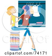 Royalty Free RF Clipart Illustration Of A Pretty Home Maker Hanging Laundry In A Closet