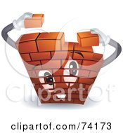 Royalty Free RF Clipart Illustration Of A Brick Wall Character Building Itself