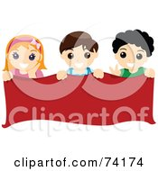 Royalty Free RF Clipart Illustration Of A Group Of Boys And A Girl Holding A Blank Red Banner