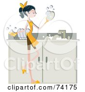 Royalty Free RF Clipart Illustration Of A Pretty Home Maker Washing Dishes In A Sink