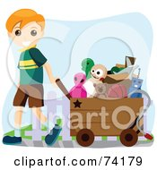 Royalty Free RF Clipart Illustration Of A Little Boy Pulling A Cart Full Of Toys by BNP Design Studio