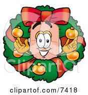 Bandaid Bandage Mascot Cartoon Character In The Center Of A Christmas Wreath