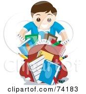 Happy School Boy Showing Off His School Supplies