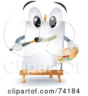 Royalty Free RF Clipart Illustration Of A Canvas Easel Character Painting