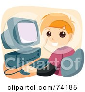 Royalty Free RF Clipart Illustration Of A Blond School Boy Smoking While Using A Computer