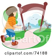 Royalty Free RF Clipart Illustration Of An Excited Boy Running Towards Animals In A Zoo by BNP Design Studio