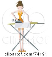 Royalty Free RF Clipart Illustration Of A Pretty Home Maker Ironing Clothes