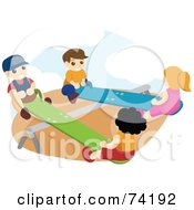 Royalty Free RF Clipart Illustration Of Boys And Girls Playing On Teeter Totters
