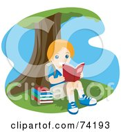 Royalty Free RF Clipart Illustration Of A Happy Girl Reading Under A Tree