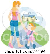 Young Mom Walking Her Daughter To School