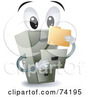 Royalty Free RF Clipart Illustration Of A Filing Cabinet Character Holding A Folder by BNP Design Studio