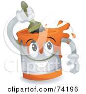 Royalty Free RF Clipart Illustration Of A Paint Can Character Stirring Paint by BNP Design Studio