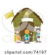 Royalty Free RF Clipart Illustration Of School Children Standing Outside Of A Green School House