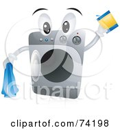 Royalty Free RF Clipart Illustration Of A Front Loader Washing Machine Character With Detergent by BNP Design Studio