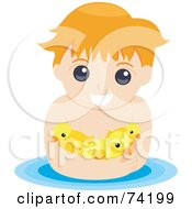 Royalty Free RF Clipart Illustration Of A Little Boy Swimming With Ducks