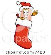 Bandaid Bandage Mascot Cartoon Character Wearing A Santa Hat Inside A Red Christmas Stocking